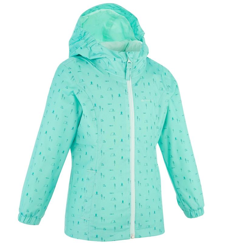 Waterproof hiking jacket - MH500 KID turquoise - children aged 2-6 YEARS