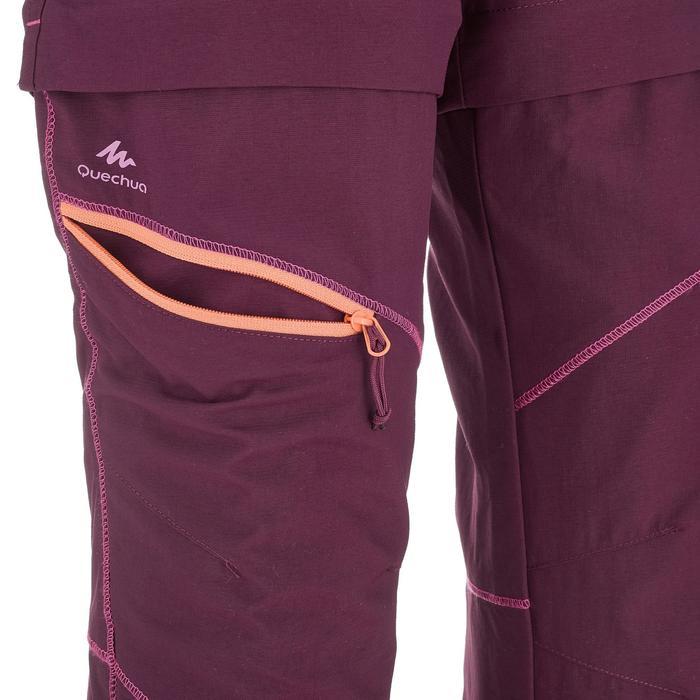 Pantalón transformable de senderismo júnior Hike 500 Ciruela