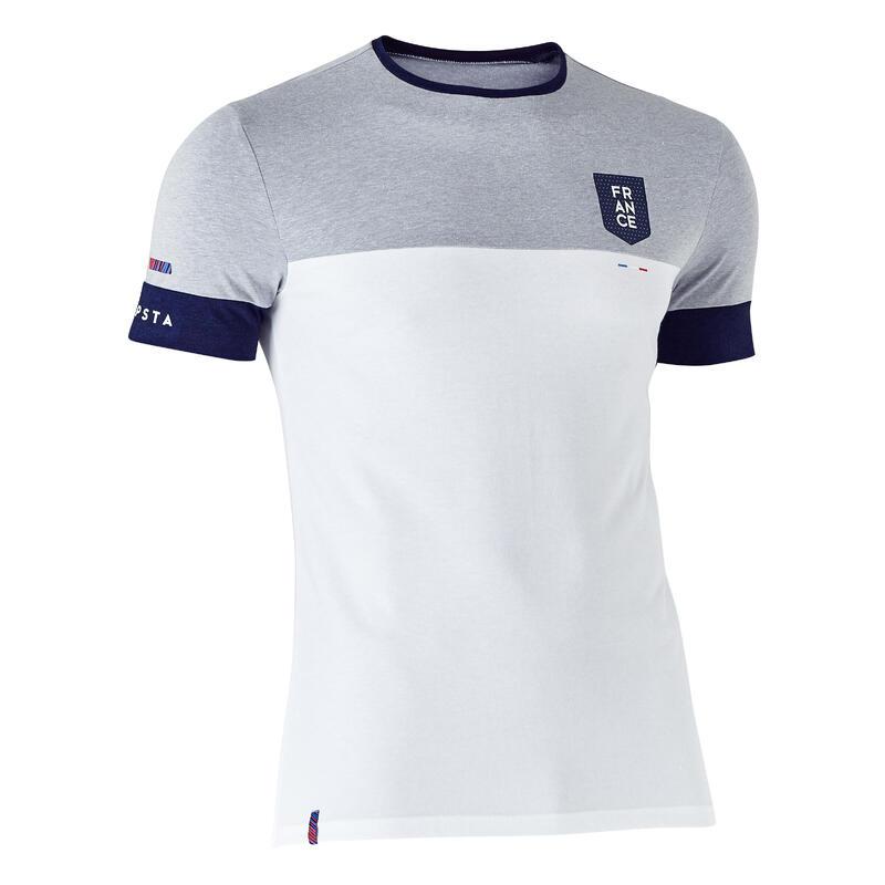 Fotbalové tričko FF100 Francie melírované bílo-šedé