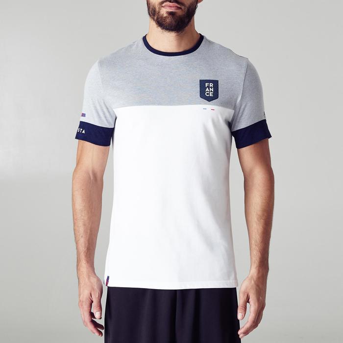 Fußballtrikot FF100 Frankreich Erwachsene weiß/grau meliert