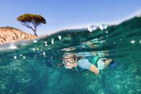 Adult's diving snorkelling Fins Mask and Snorkel kit SNK 500 - Blue Black
