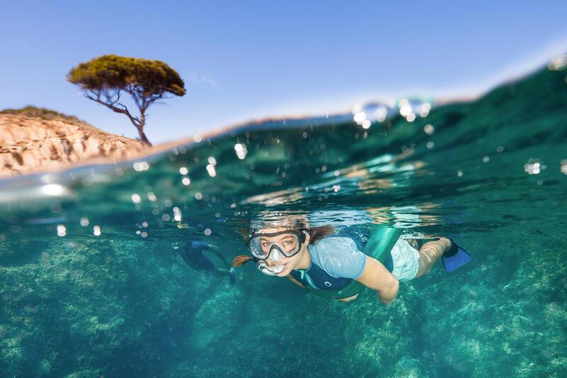 Women's Snorkeling Top SNK 100 1.5 MM - GREY GREEN