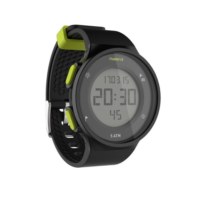 Montre chronomètre de course à pied homme W500 M noire reverse - 1275127
