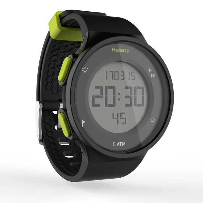 Montre chronomètre de course à pied homme W500 M noire reverse - 1275148