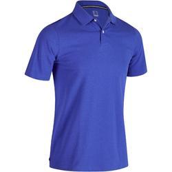 Golfpolo 500 met korte mouwen voor heren, zacht weer, gemêleerd blauw