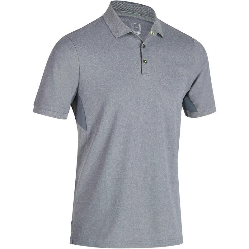 Polo de golf hombre manga corta 900 clima caluroso gris moteado