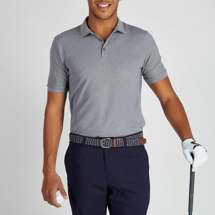 Polo de golf hombre manga corta 900 tiempo caluroso gris jaspeado