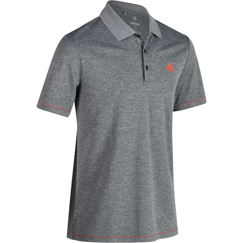 MENS WARM WEATHER GOLF CLOTHING - Adidas Men's Heather Grey Polo ADIDAS
