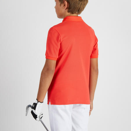 Дитяче поло для гольфу, з коротким рукавом - Коралово-червоне