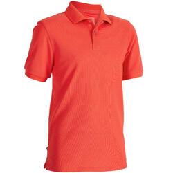 兒童款短袖高爾夫球POLO衫-珊瑚紅