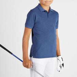 Golfpolo met korte mouwen voor kinderen gemêleerd donkerblauw