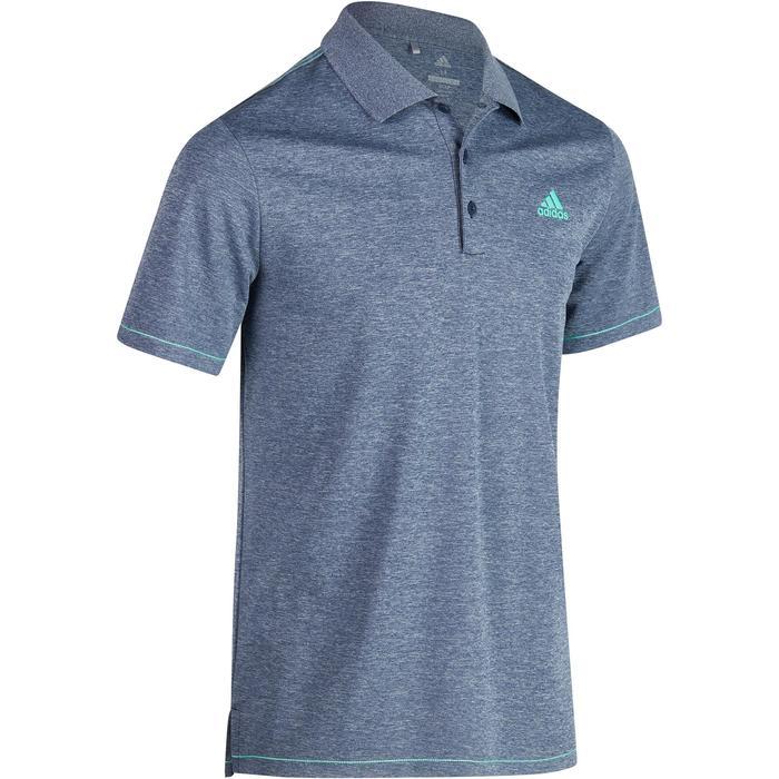 Golfpolo Adidas met korte mouwen voor heren, warm weer, gemêleerd blauw
