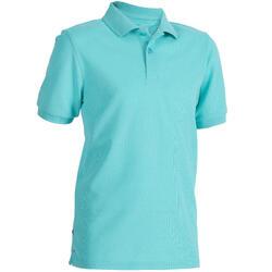 兒童款短袖高爾夫球POLO衫-淺碧藍色