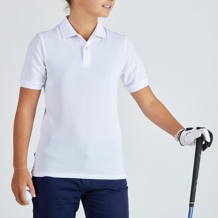 Ademende golfpolo voor kinderen wit