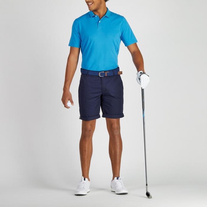 Polo de golf hombre manga corta 500 tiempo templado azul