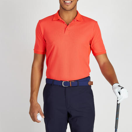 Men's Golf Breathable Polo Shirt - Coral Red