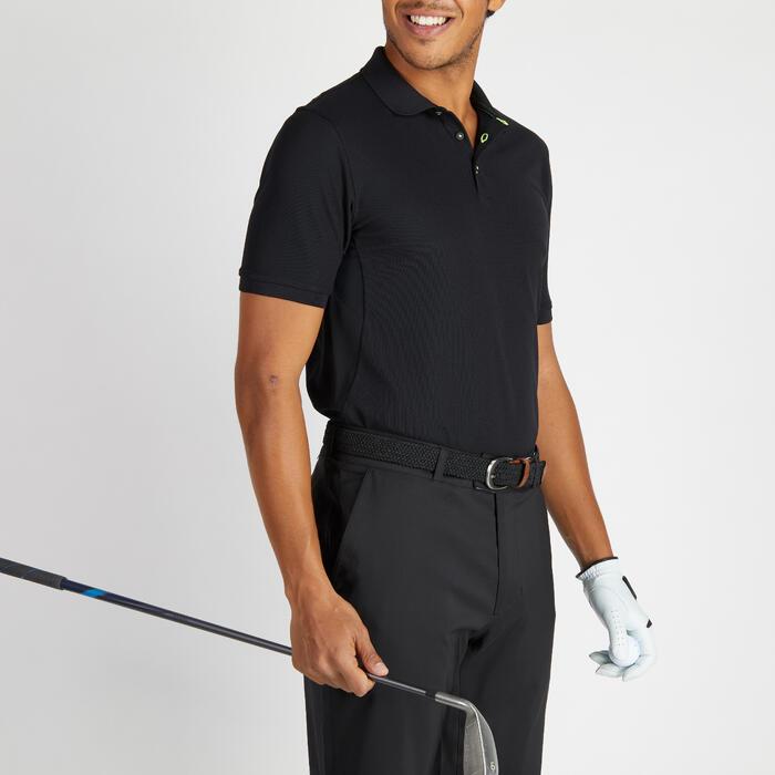 Ademende golfpolo voor heren zwart