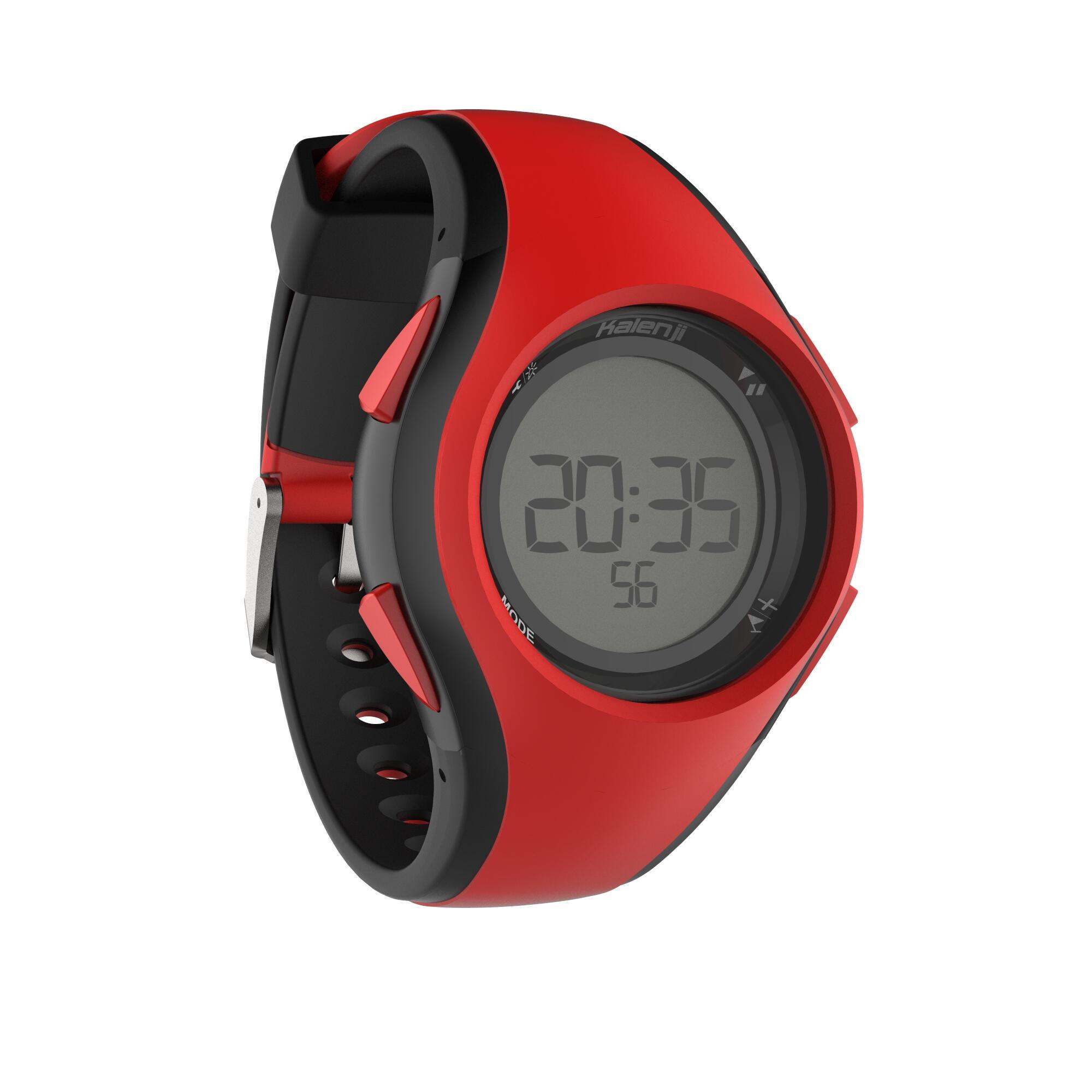 Reloj cronómetro de running hombre W200 M negro y rojo