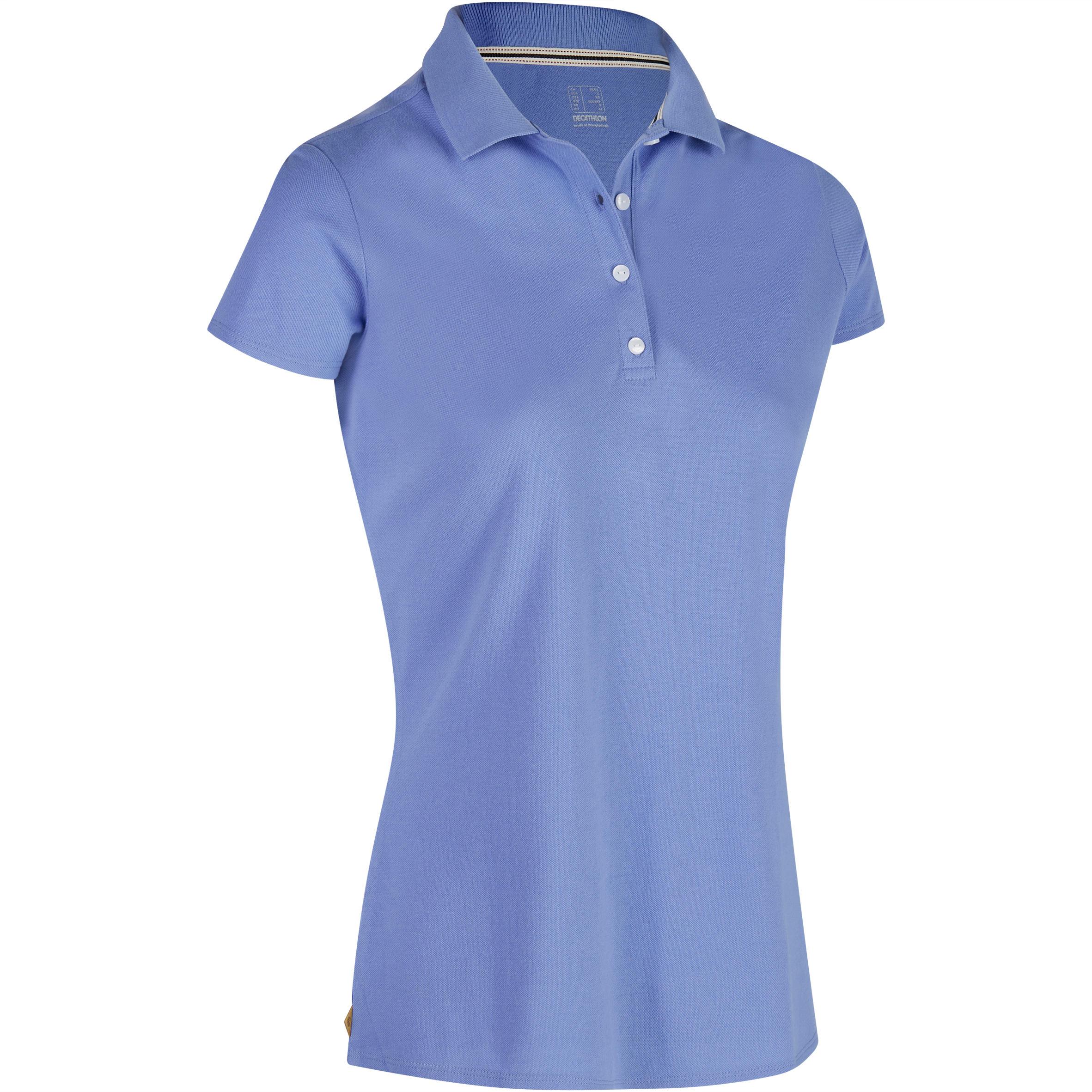 Polo de golf mujer manga corta 500 - clima caluroso - azul lavanda