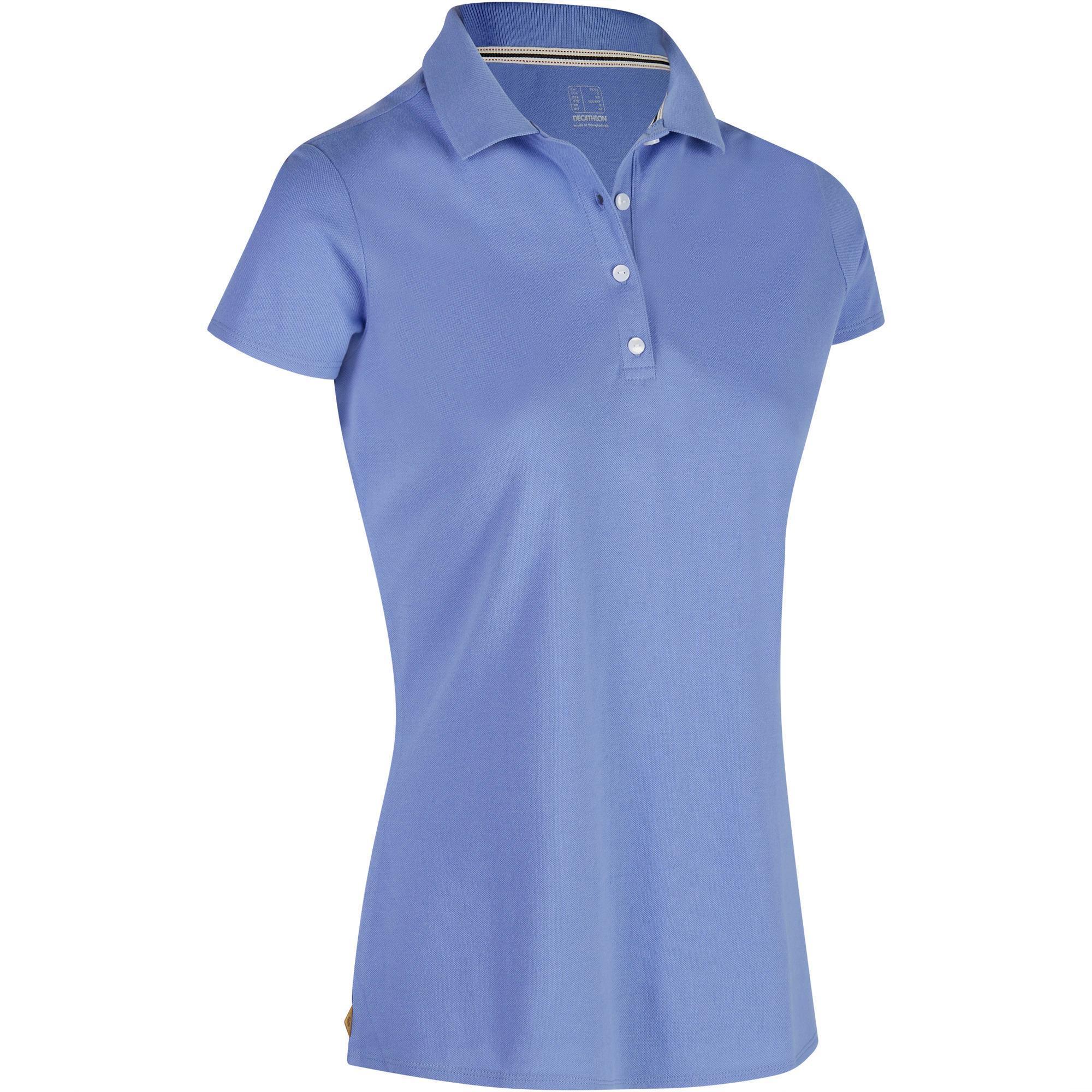 Inesis Golfpolo 500 met korte mouwen voor dames, zacht weer, lavendelblauw