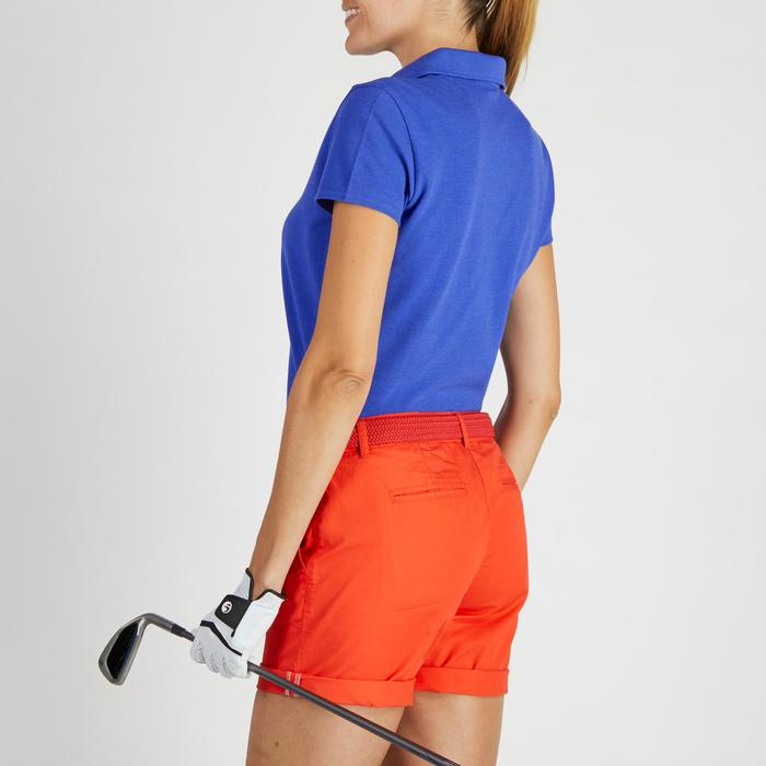 Golfpolo 500 met korte mouwen voor dames, zacht weer, gemêleerd blauw