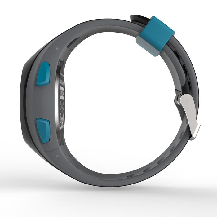 Montre chronomètre de course à pied homme W200 M noire et bleue