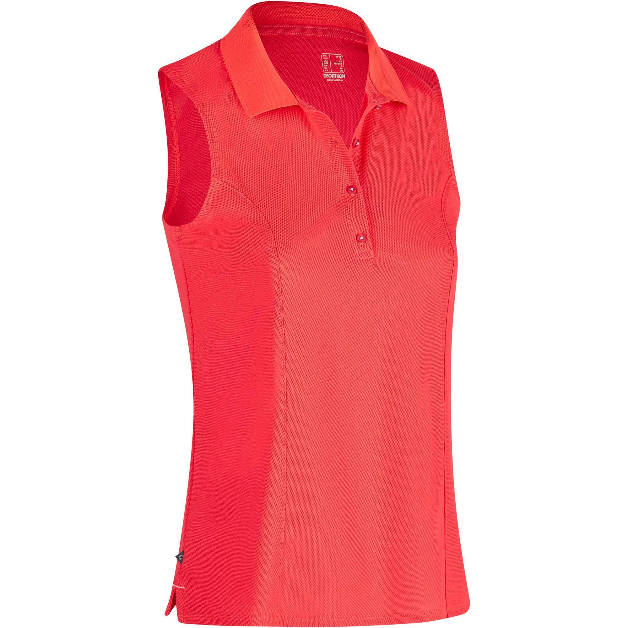Inesis Mouwloze golfpolo 900 voor dames, warm weer, rood
