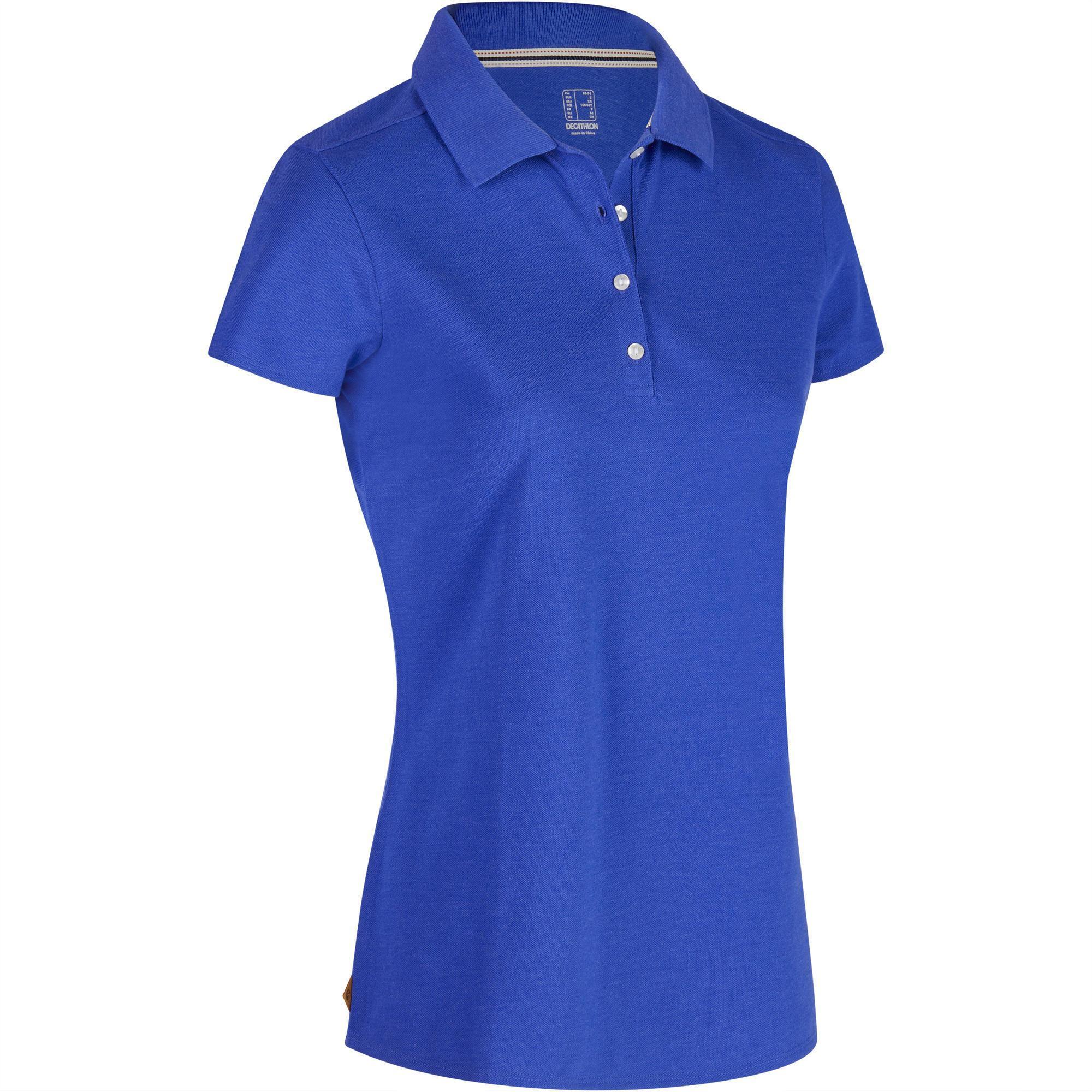 Inesis Golfpolo 500 met korte mouwen voor dames, zacht weer, gemêleerd blauw