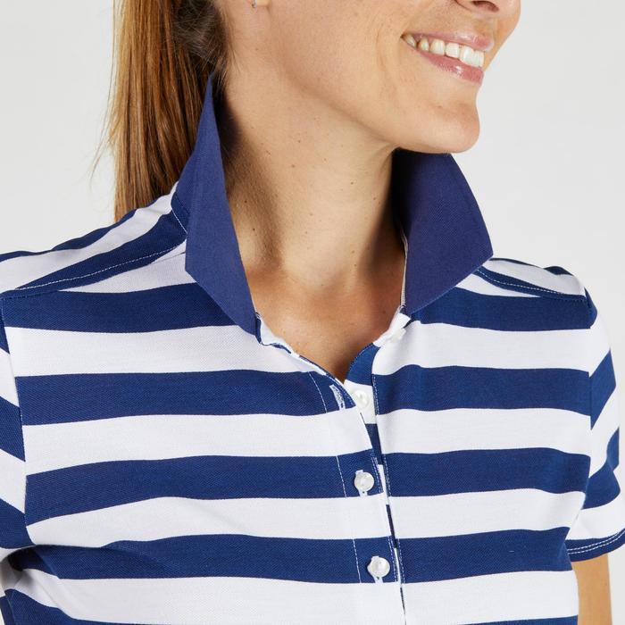 520 Women's Golf Short Sleeve Warm Weather Polo - White Navy Blue Stripes