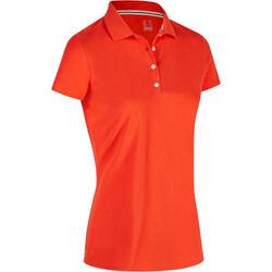 Polo de golf femme manches courtes 500 temps tempéré rouge