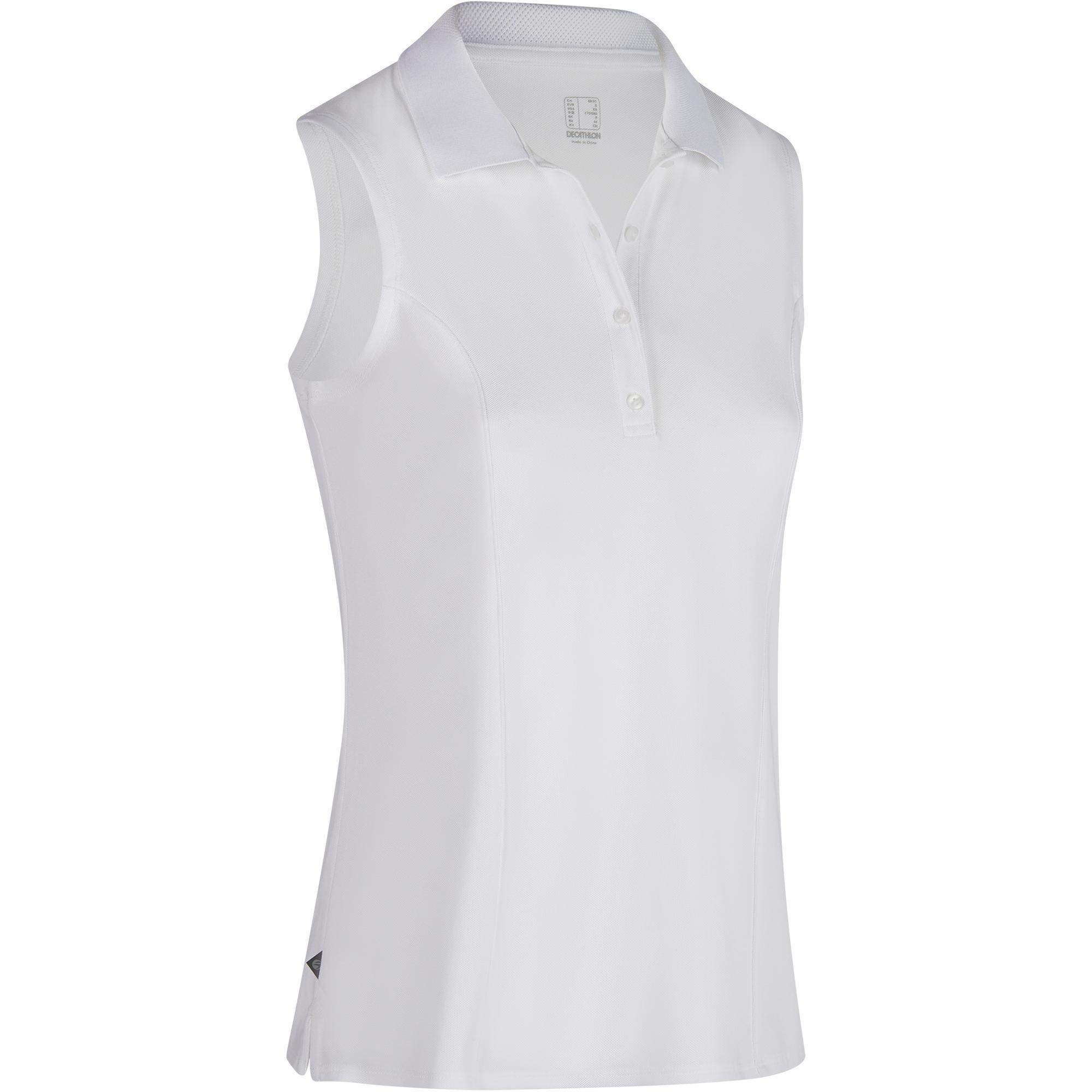 Inesis Mouwloze golfpolo 900 voor dames, warm weer, wit