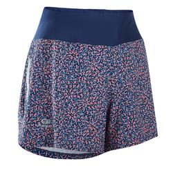RUN DRY WOMEN'S RUNNING SHORTS - BLUE/CORAL PRINT