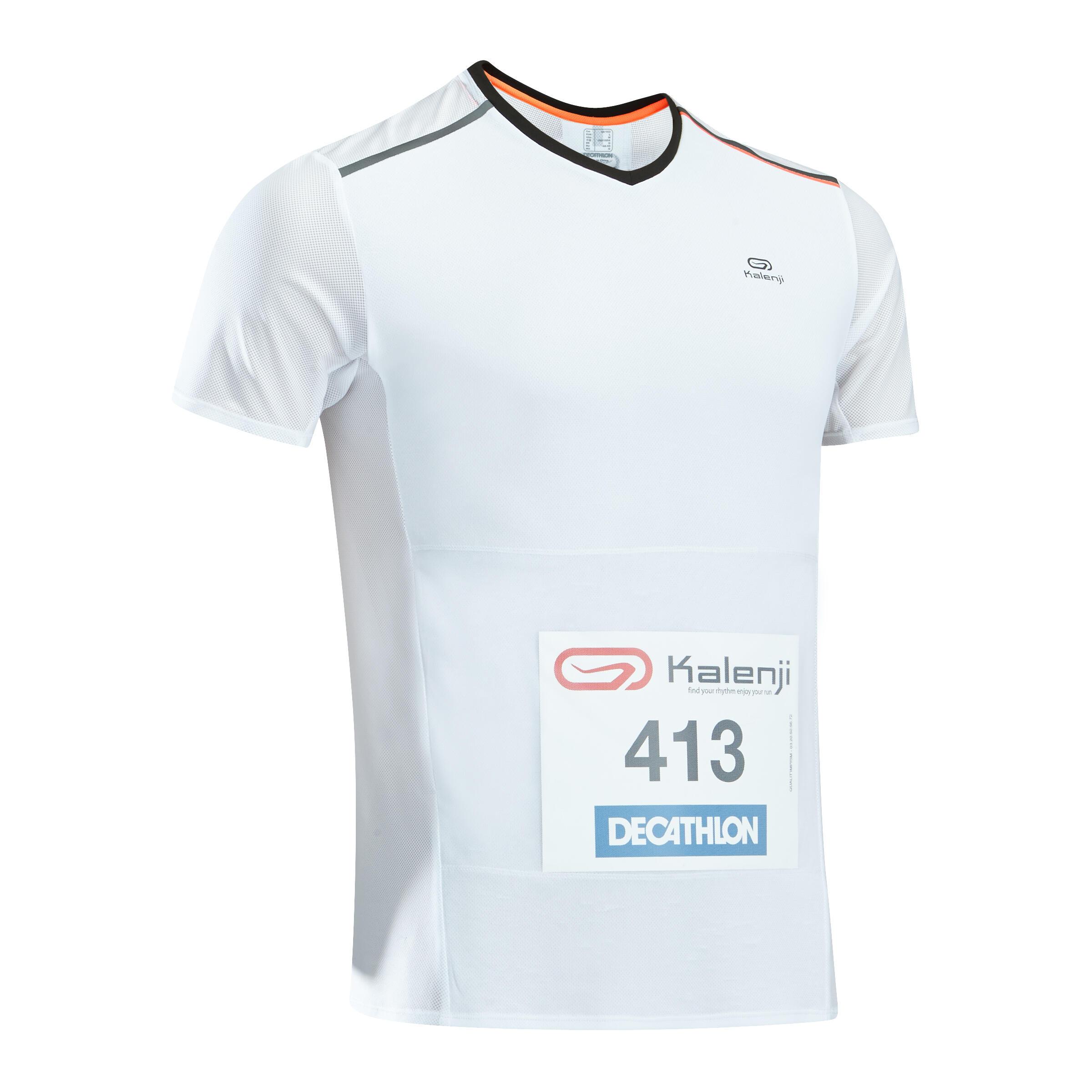 Kalenji Hardloopshirt met startnummerhouder voor heren Kiprun wit