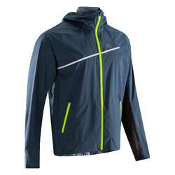 Veste imperméable trail running bleu jaune homme