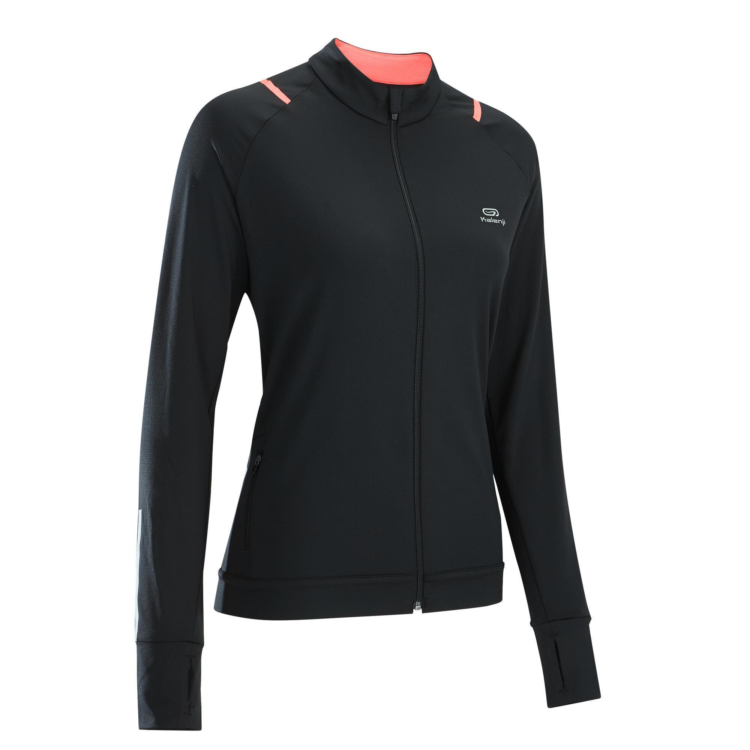 Laufjacke Run Dry Damen schwarz/koralle | Sportbekleidung > Sportjacken > Laufjacken | Schwarz - Rot - Rosa | Kalenji