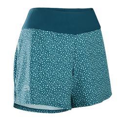 RUN DRY 女性跑步運動快乾短褲 - 藍色/珊瑚色印花