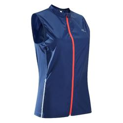 Mouwloos windjack jogging dames Run Wind blauw/koraalrood