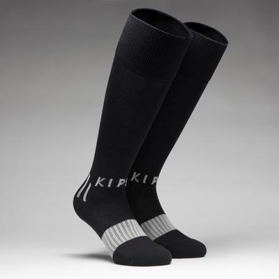 גרבי כדורגל לילדים F500 - שחור/אפור