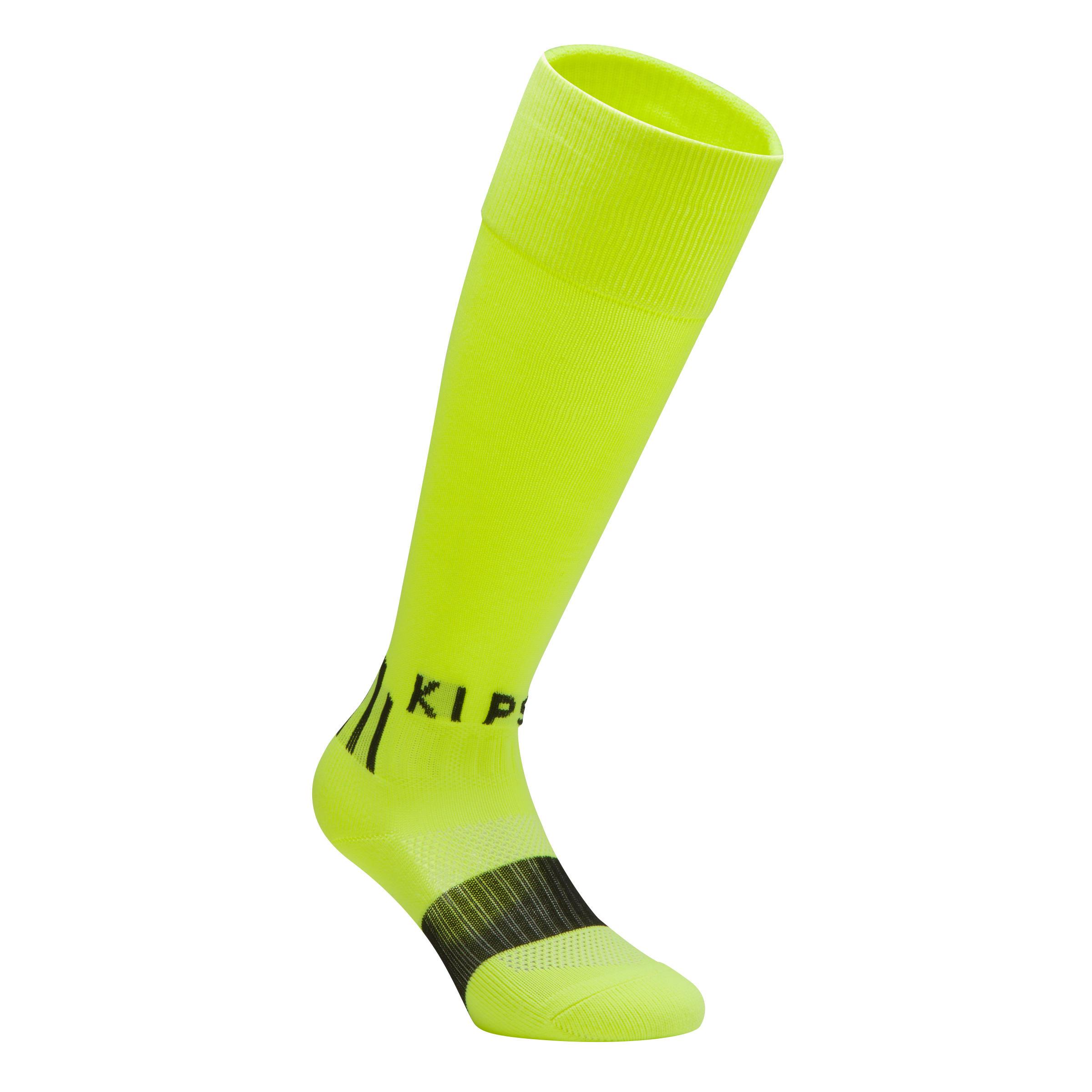 Medias largas de fútbol niños F 500 amarillo fluorescente
