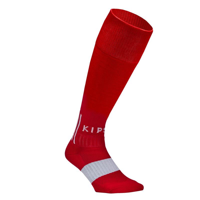 Calcetas de fútbol para adulto F500 rojo y blanco