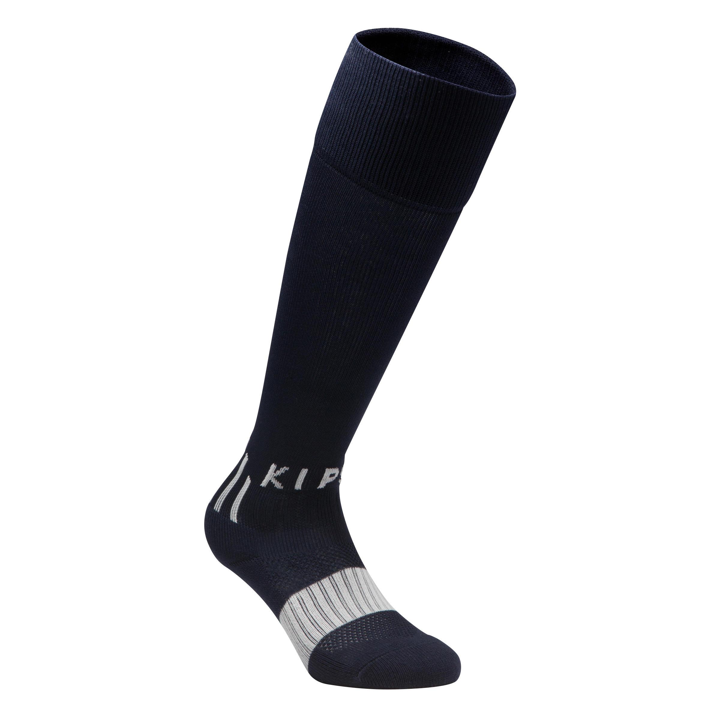 Calcetas de fútbol niños F500 azul marino y gris