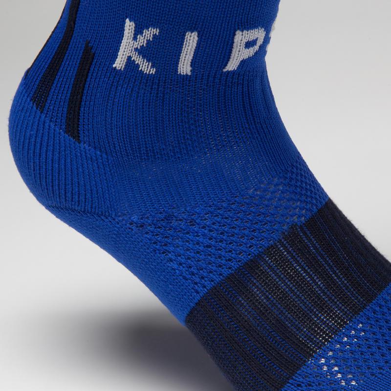 Calcetas de fútbol niños F500 azul púrpura