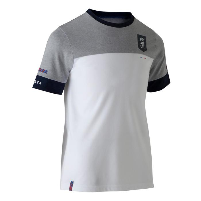 T-shirt de football enfant FF100 France blanc gris chiné