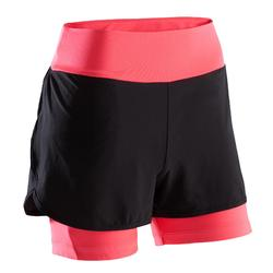 Mountainbike-Shorts ST 100 MTB Damen schwarz/rosa