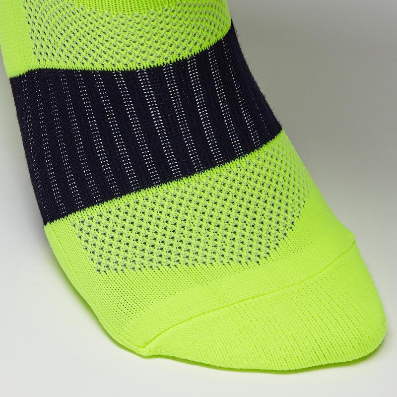 Calcetas de fútbol adulto F500 amarillo fluo y negro