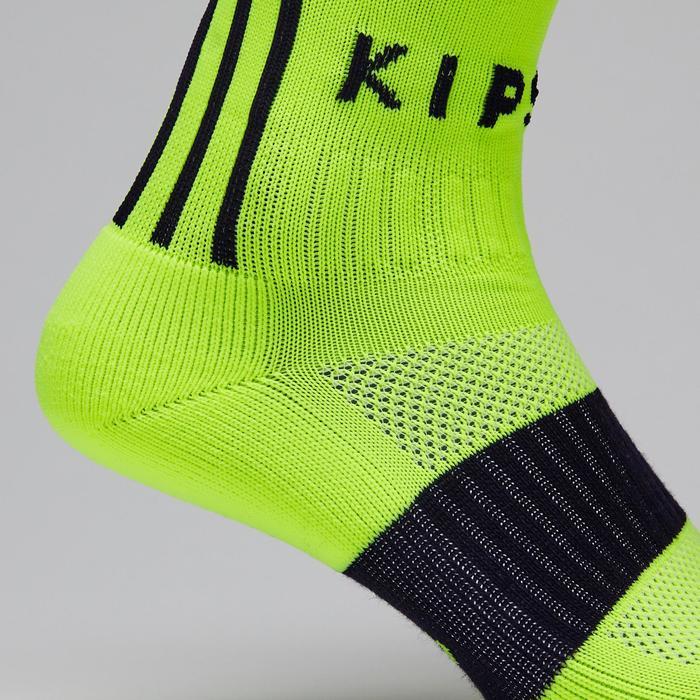 Medias de fútbol adulto F500 amarillo fluo y negro