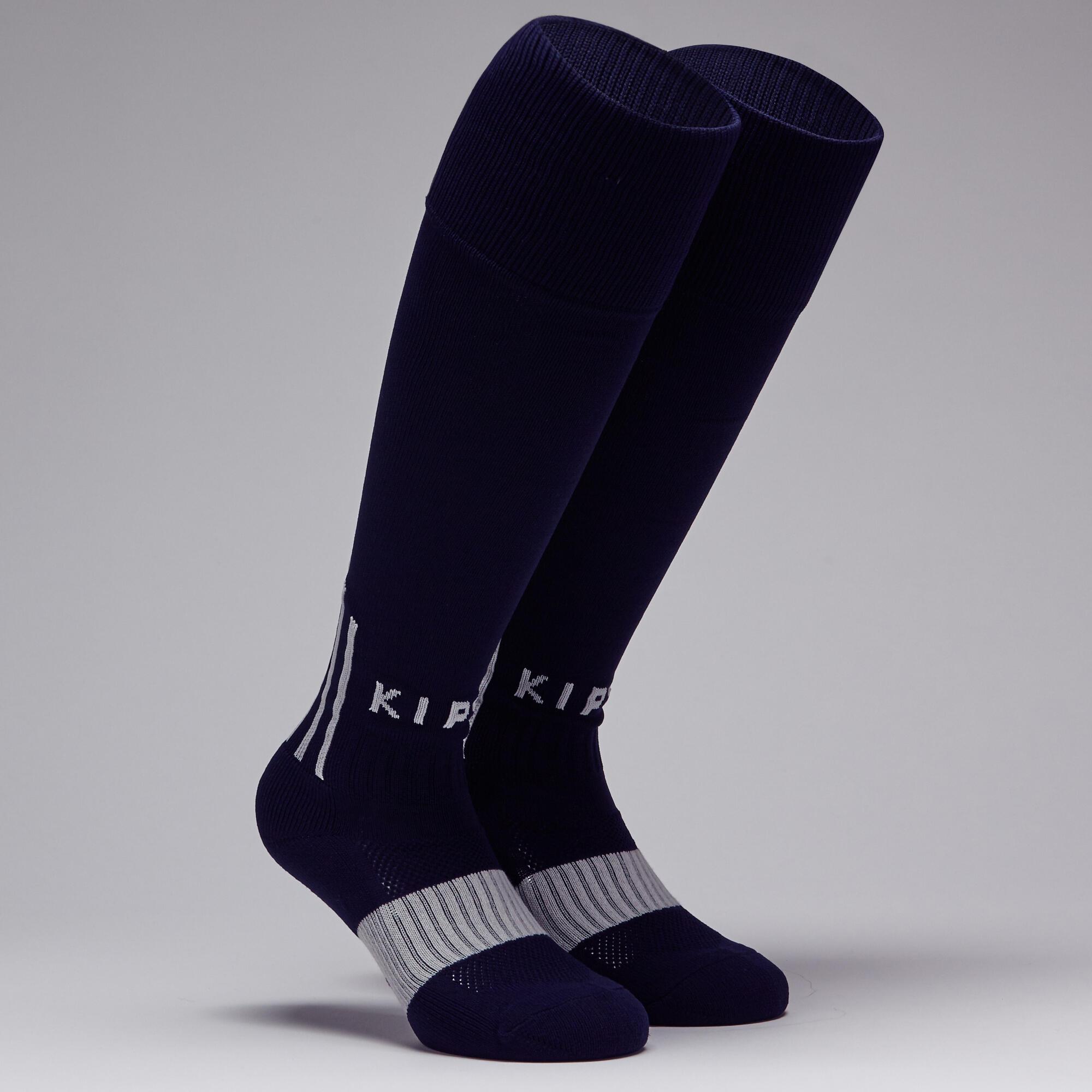 Chaussette de soccer F500 bleue marine et grise