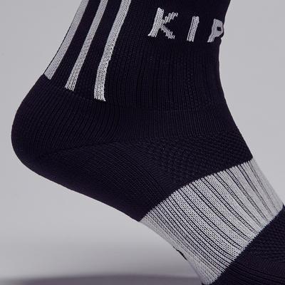 Chaussette de football adulte F500 noire et grise