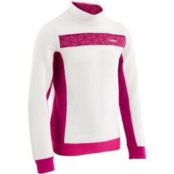 Chaqueta térmica de esquí niño MID WARM 100 blanco rosa