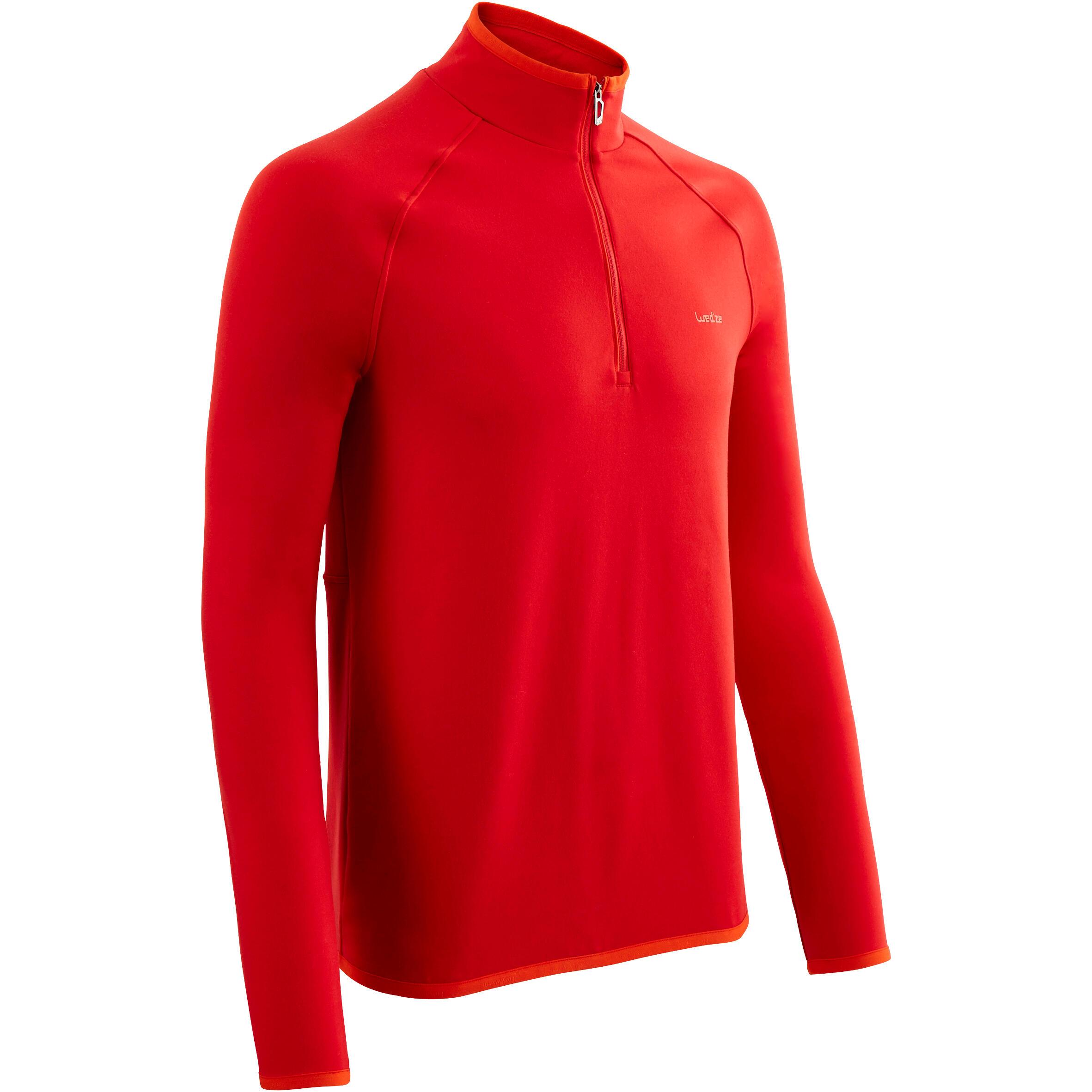 Wed'ze Skiondershirt voor heren Freshwarm 1/2 rits rood thumbnail